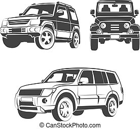 Suv Car Vector Emblems Labels And Logos Offroad Extreme Expedition