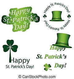 vector elements for saint patrick's day - green stickers