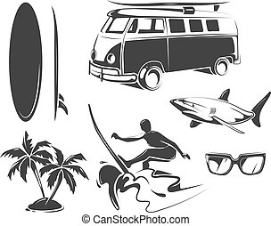 Vector elements for summer surfing