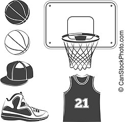 Vector elements, icons for basketball club labels