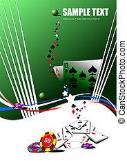 vector, elements., ilustración, casino