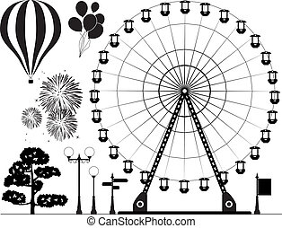 vector elements of amusement park - vector black and white...