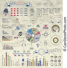Vector Elements of Infographics on Crumpled Paper