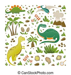 Vector elements of prehistoric age life. - Vector set of...