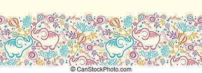 Elephants With Flowers Horizontal Seamless Pattern Background Border