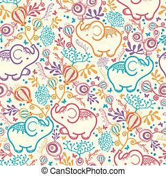 Elephants With Flowers Seamless Pattern Background - Vector...