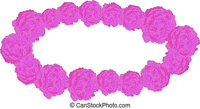 Vector Elliptical Frame of Lilac Roses