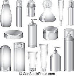 vector, embalaje, conjunto, botellas, cosméticos