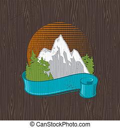 vector, embleem, kleur, bekende & bijzondere plaatsen, -, illustratie, hout, black , plank, schilderij