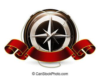vector, embleem, kompas