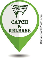 vector emblem fishing catch & release with tail and lettering in marker symbol