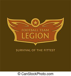 Vector emblem for the football team. Heraldic logo with wings, star and ball
