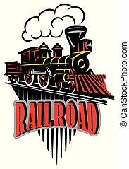Vector emblem in vintage style with locomotives. Label, badge, pattern on retro railroad theme