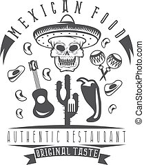 vector emblem of restaurant with skull in mexican sombrero