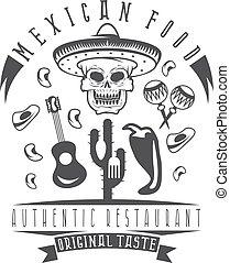 vector emblem of restaurant with skull in mexican sombrero
