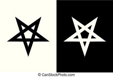 Vector emblem of Satan Pentagram Star on white and black...