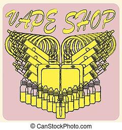 Vector emblem of vape.