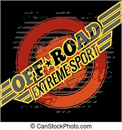 Vector emblem - off-road cars - Emblem with off-road cars -...