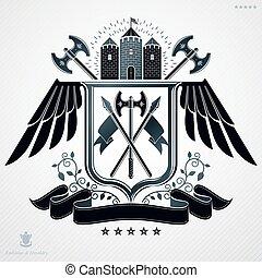 Vector emblem, vintage heraldic design.