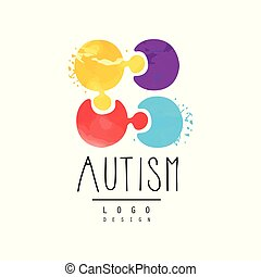 Vector emblem with multi-colored puzzle. Genetic disorder or Autism awareness theme. Symbol of Down Syndrome for wellness center logo