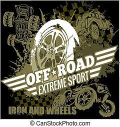 Vector emblem with off-road cars - Emblem with off-road cars...