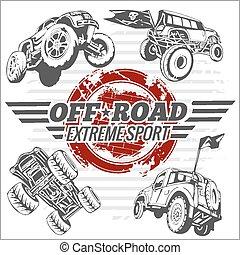 vector, emblema, con, off-road, coches