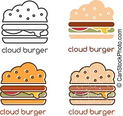 vector emblems set with concept of cloud burger