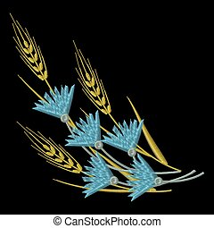 Vector Embroidery Wheat ears and blue Cornflowers.
