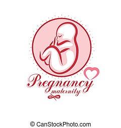 Vector embryo emblem. New life beginning drawing. Neonatal ...