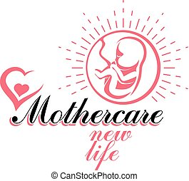 Vector embryo emblem. Pregnancy and mother care theme, new life idea drawing. Reproduction clinic conceptual logo