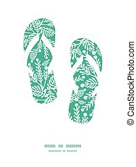 Vector emerald green plants flip flops silhouettes pattern...