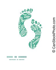 Vector emerald green plants footprints silhouettes pattern...