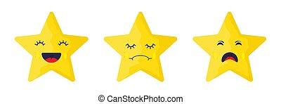 vector., emocional, caras, estrelas, -