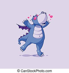Vector Emoji character cartoon dragon dinosaur in love...