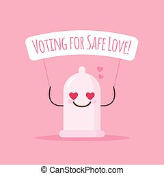 Vector emoji condom with poster about safe love. Cartoon sticker.