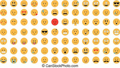 vector., emoticon, セット