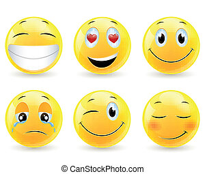 Vector Emoticons - Vector Illustration of Emoticons with...