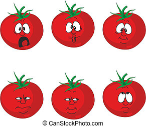 Emotion cartoon red tomato vegetables set 007