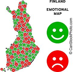 Vector Emotion Finland Map Mosaic of Smileys - Happiness and...