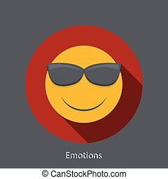 Vector emotion flat icon on gray background