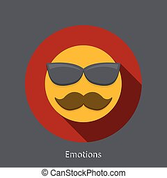Vector emotion flat icon on gray background.