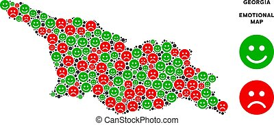 Vector Emotion Georgia Map Collage of Emojis - Emotion...