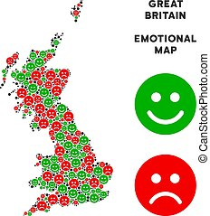 Vector Emotion Great Britain Map Composition of Smileys