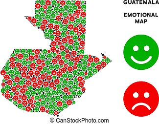 Vector Emotion Guatemala Map Collage of Smileys - Happiness...