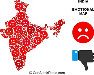 Vector Emotion India Map Composition of Sad Smileys