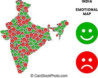 Vector Emotion India Map Composition of Smileys - Happiness...