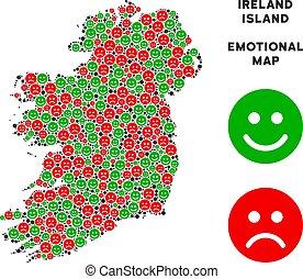 Vector Emotion Ireland Island Map Mosaic of Emojis -...