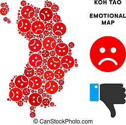 Vector Emotion Koh Tao Thai Island Map Mosaic of Sad Emojis...