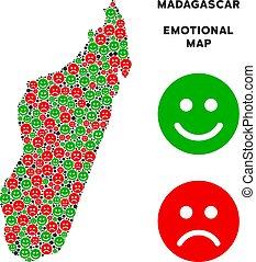 Vector Emotion Madagascar Island Map Collage of Smileys
