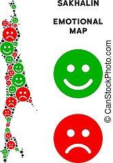 Vector Emotion Sakhalin Island Map Composition of Smileys